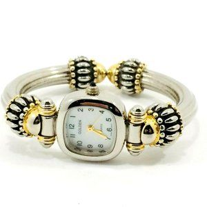 Golden Quartz Watch Women's Mixed Metal Vintage